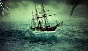 Distress forward ship sea