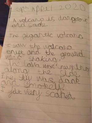 Volcano writing rufus